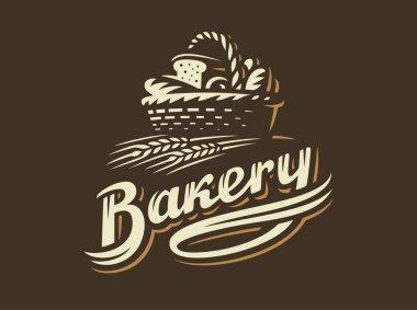 Bread basket logo - vector illustration. Bakery emblem on dark background