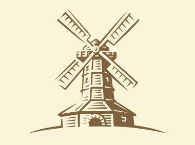 Mill - vector illustration on light background