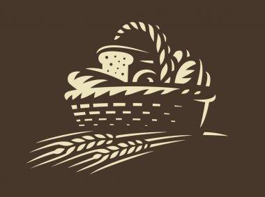 Bread basket icon - vector illustration. Bakery emblem on dark background