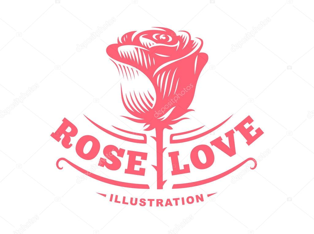 Red rose logo - vector illustration, emblem on white background