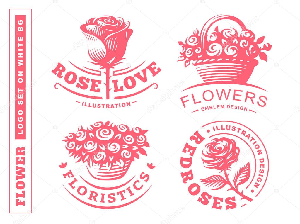 Set flowers logo - vector illustration, emblem on white background