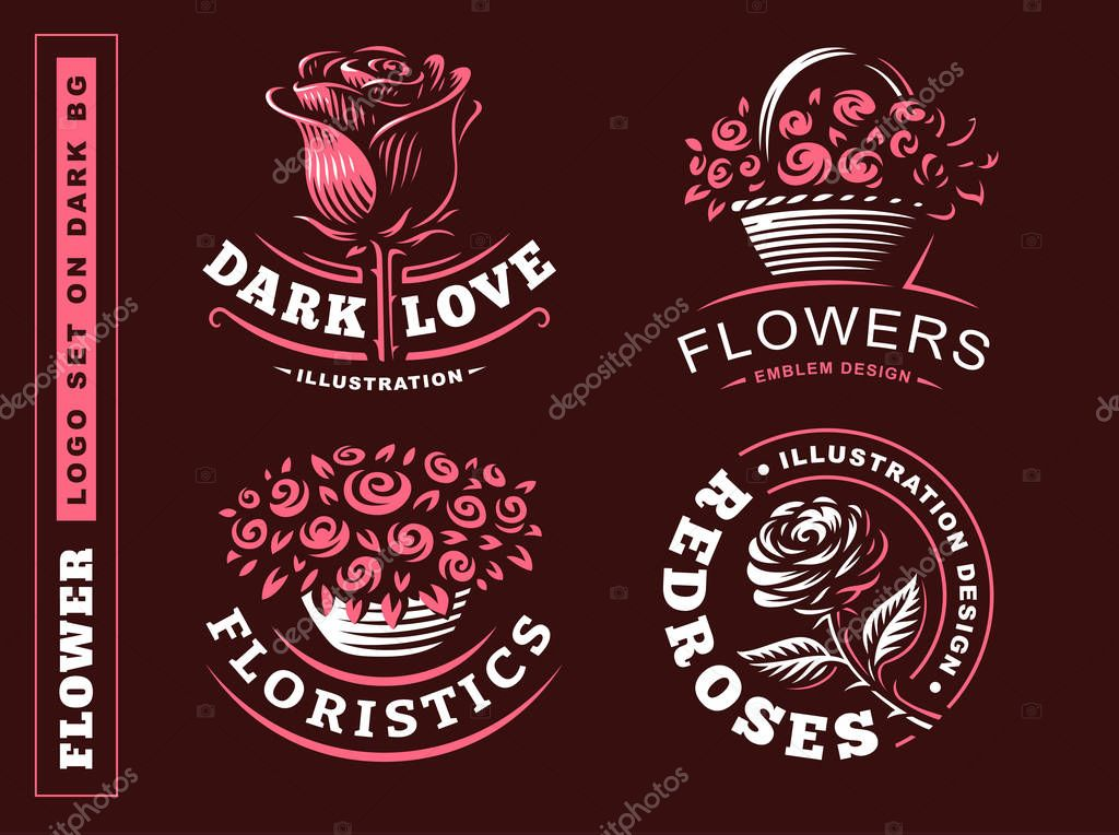 Set flowers logo - vector illustration, emblem on dark background