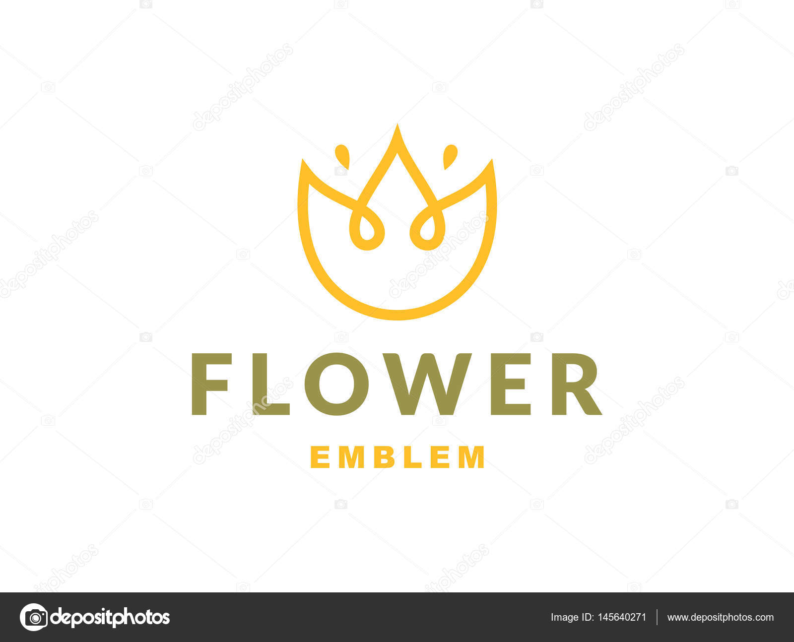 Floral Logo With Three Leaves Vector Illustration Emblem On White