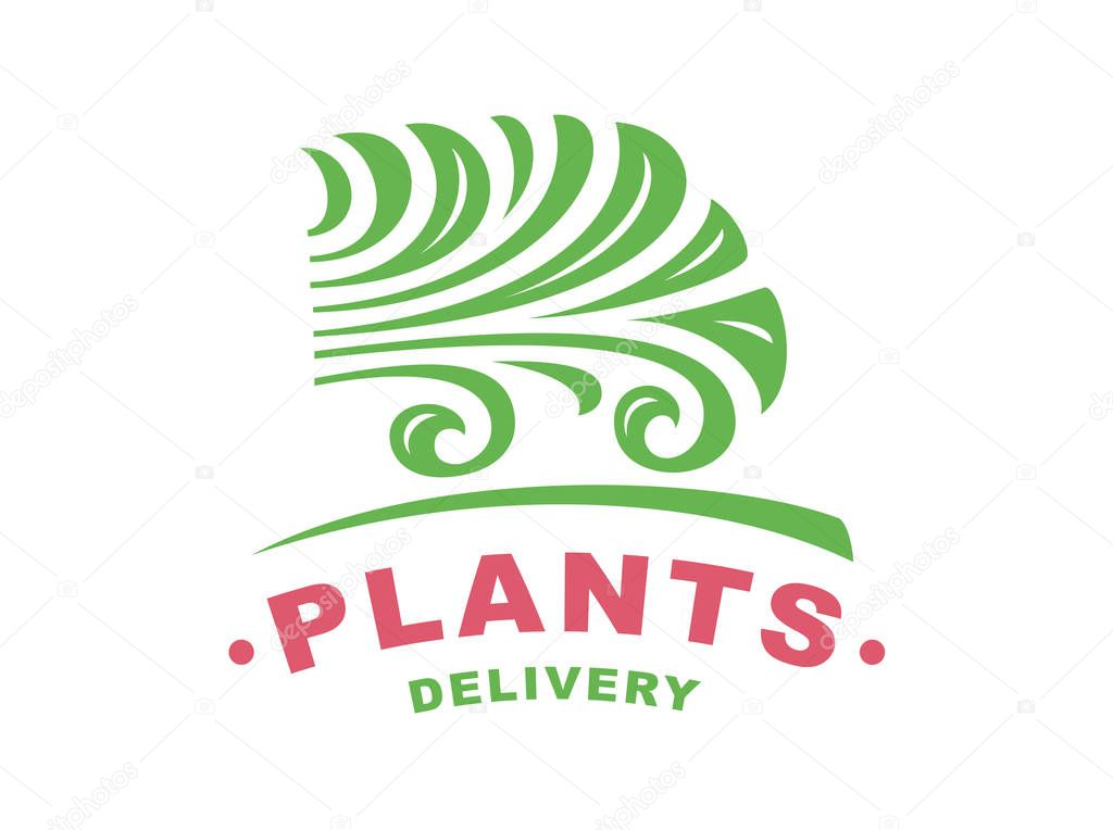Plants delivery logo - vector illustration, emblem on white background