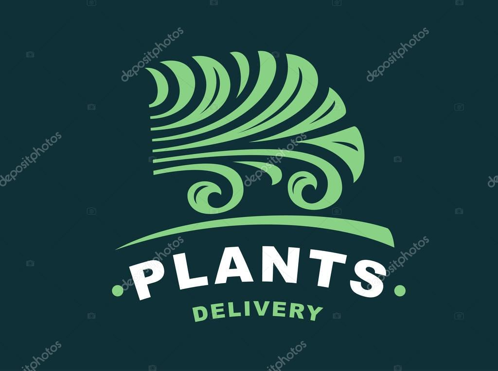 Plants delivery logo - vector illustration, emblem on dark background