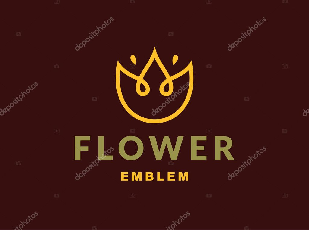Floral logo with three leaves - vector illustration, emblem on dark background