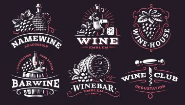 Wine set logo - vector illustrations, emblems on dark background
