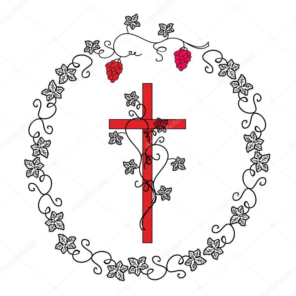 Illyustartsiya Christian símbolo - una cruz en una corona — Vector ...