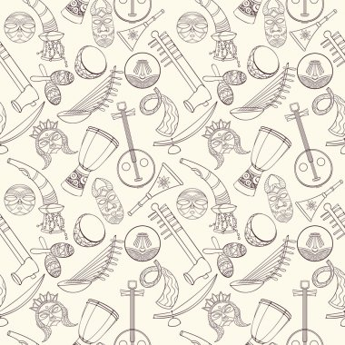Hand-drawn seamless african music pattern. Vector illustration can be used for wallpaper, website background, wrapping paper. Sketch elements of musical instruments drum, shakers, horn, kora, djembe clip art vector