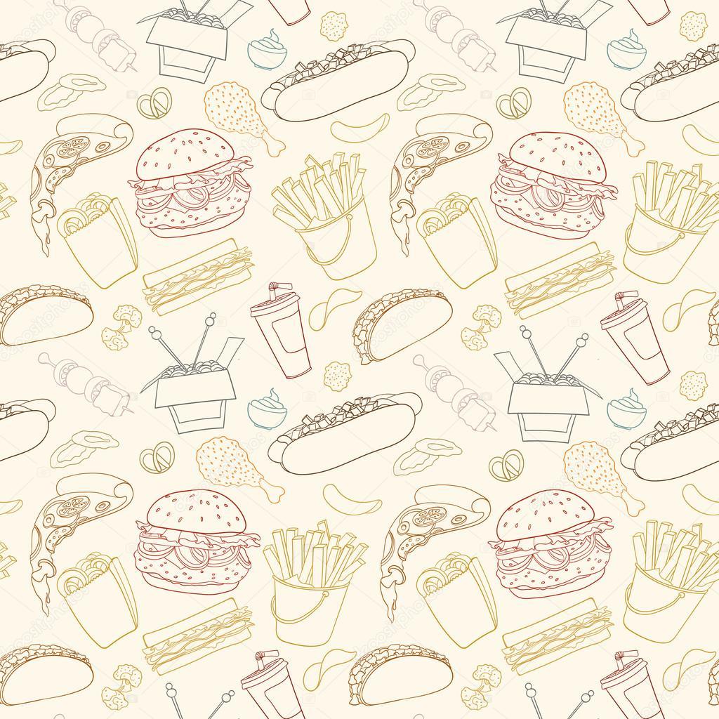 Patr n de comida r pida vector dibujado a mano vector de - Paginas de cocina ...