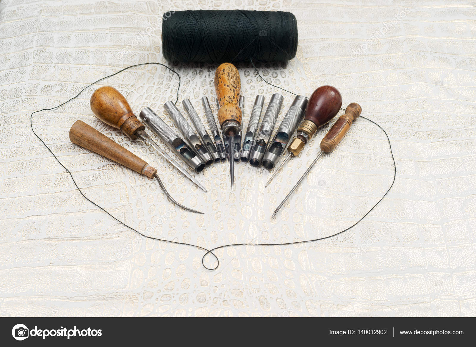 Leather Craft Tools On Background Craftsman Work Desk Stock