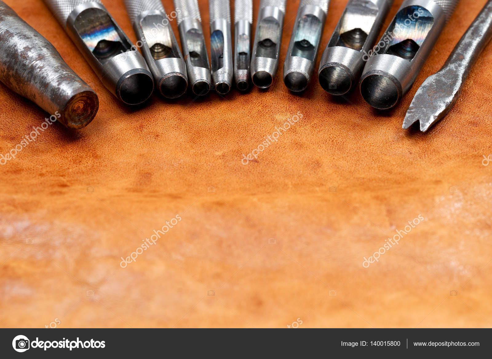 Leather Craft Tools On A Leather Background Craftsman Work Desk