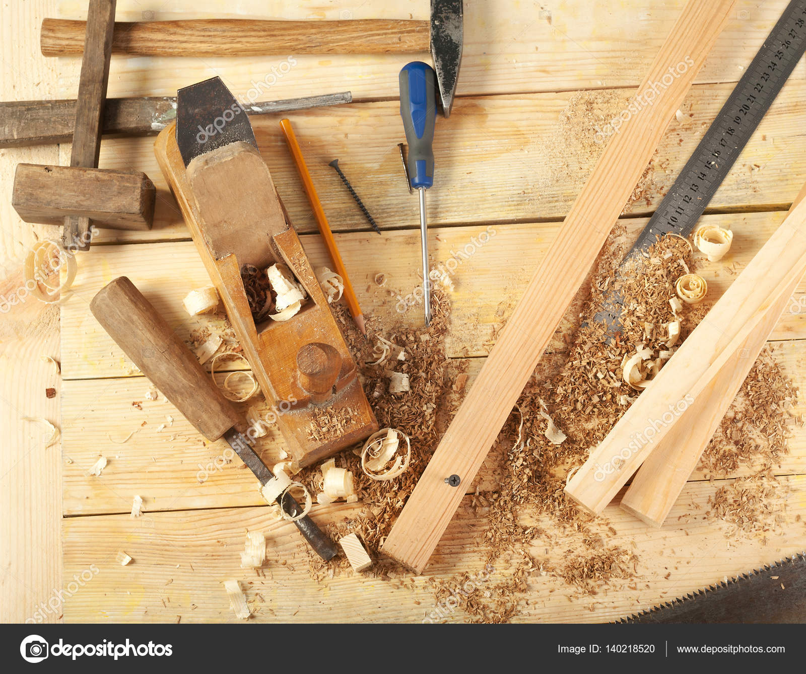 Carpenter Tools On Wood Table Background Top View Copy Space