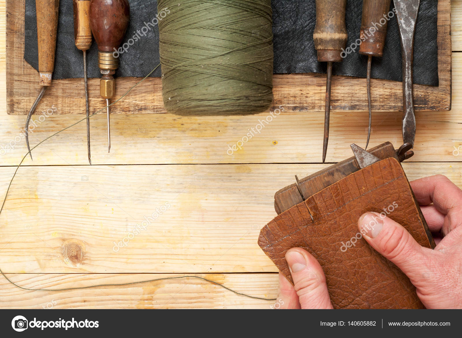 Leather Craft Tools On A Wooden Background Craftmans Working With