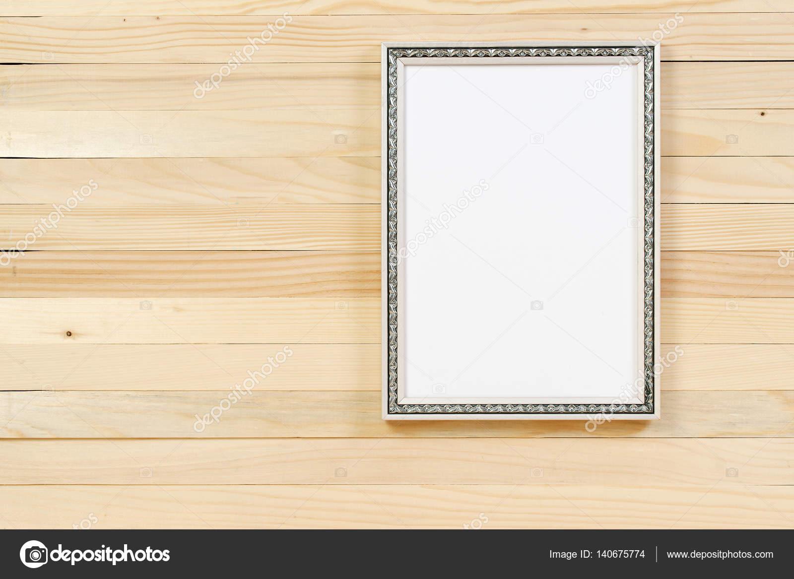 Rahmen auf Holzwand. Interior Design. Textfreiraum — Stockfoto ...