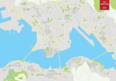 vector map of Hong Kong, China. City plan Hong Kong
