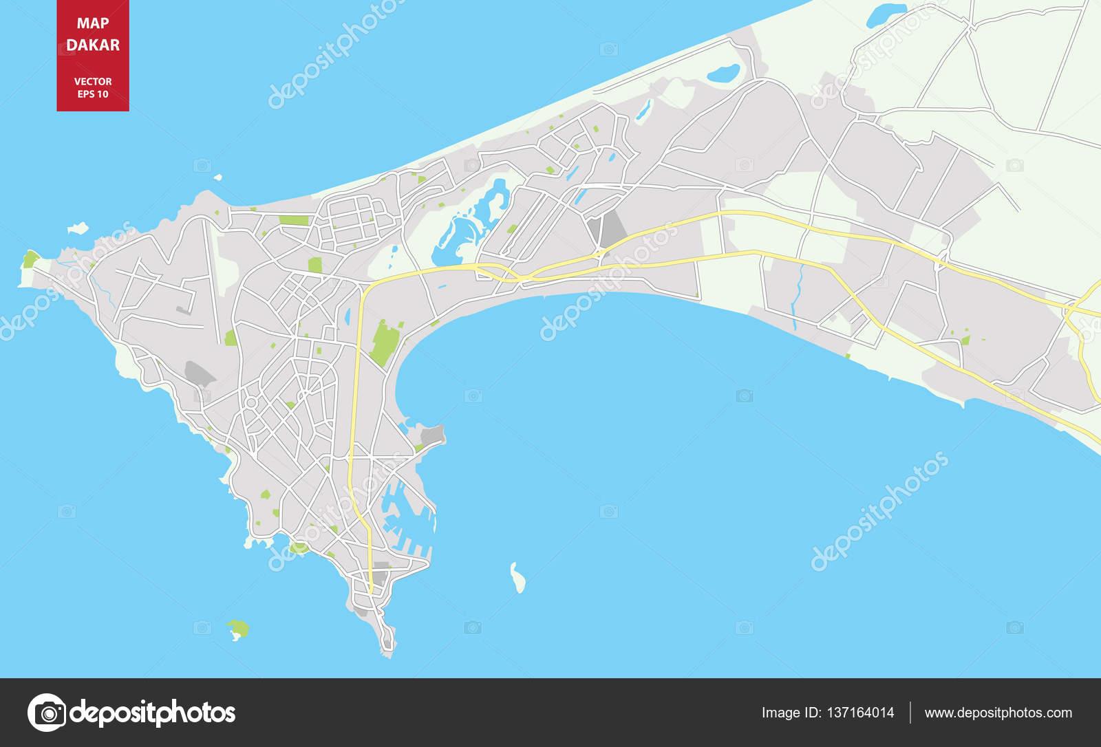 Vector color map of Dakar Senegal City Plan of Dakar Stock