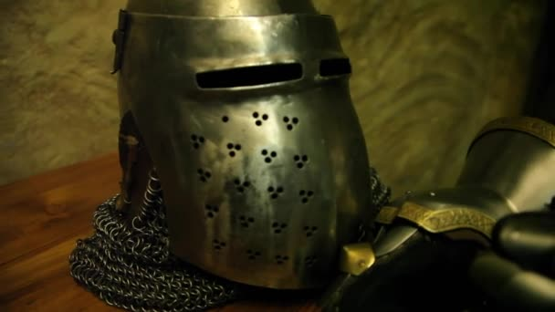 Knights helmet and gloves