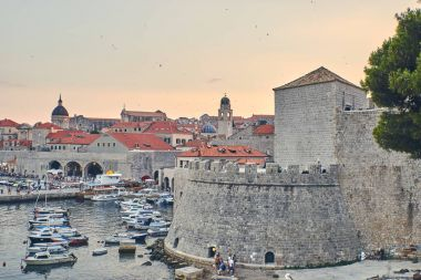 Sunset light over Dubrovnik harbour