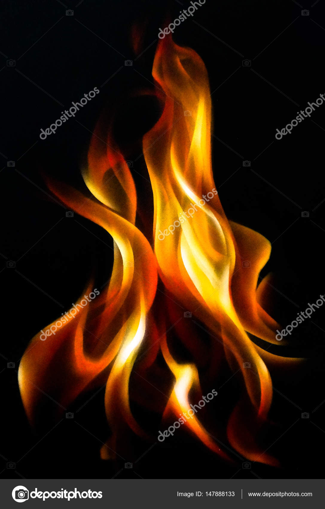 Fire Flame Airbrush Painting Hand Drawing Stock Photo