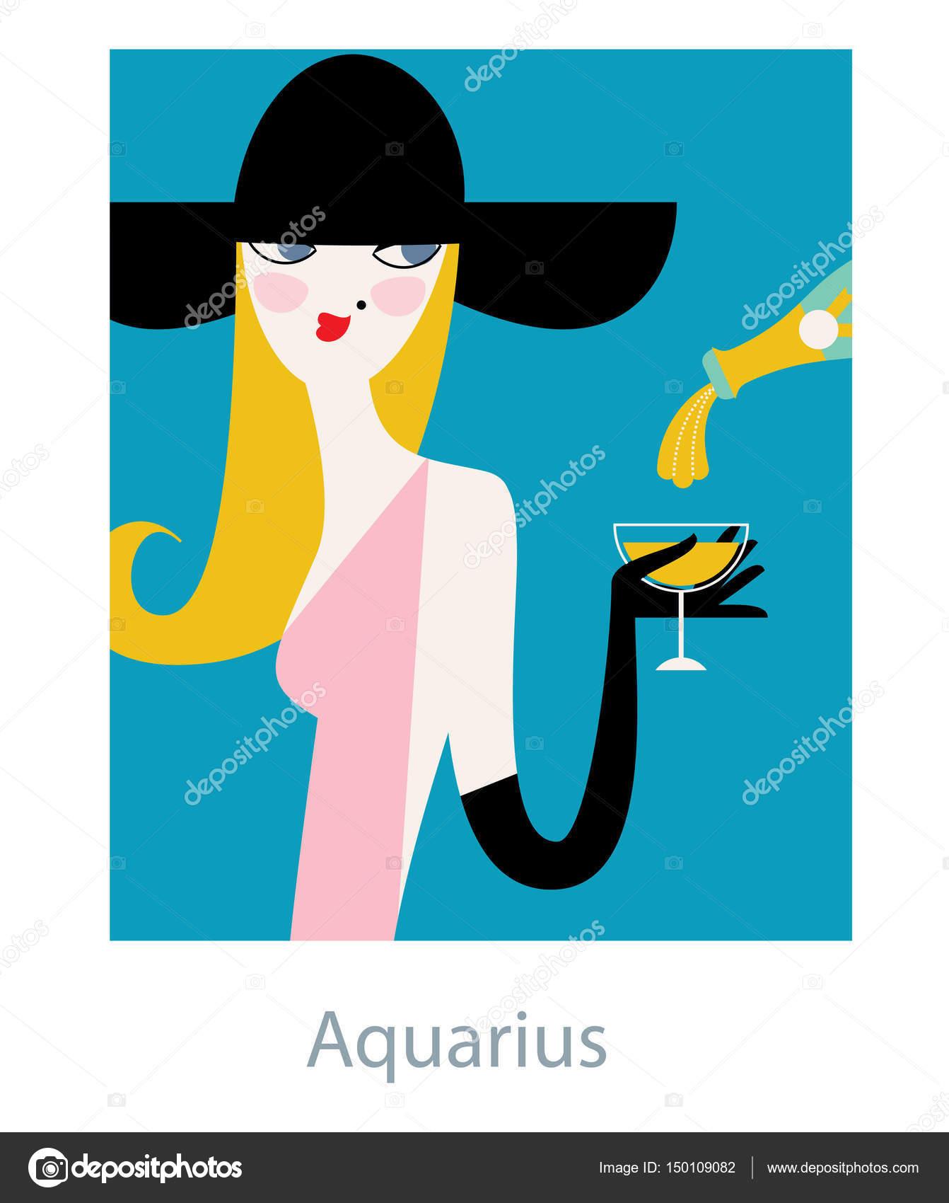 Aquarius horoscope sign as a woman drinking champagne and wearing aquarius horoscope sign as a woman drinking champagne and wearing big retro style hat buycottarizona