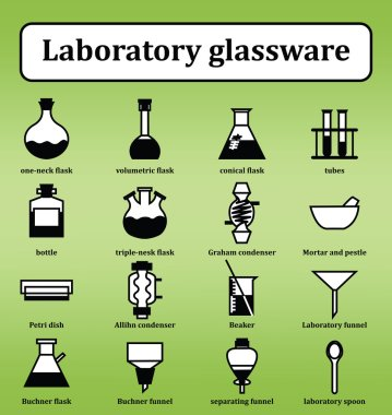Set of 16 icons of various laboratory glassware