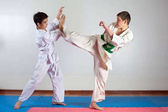 Fotografie Two boys demonstrate martial arts working together