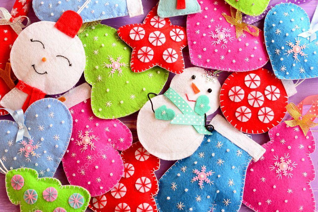 Kids Christmas background. Cute felt ornaments for Christmas. Felt ...