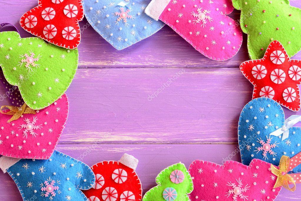 Diferentes adornos navide os fieltro navidad rboles - Imagenes de corazones navidenos ...