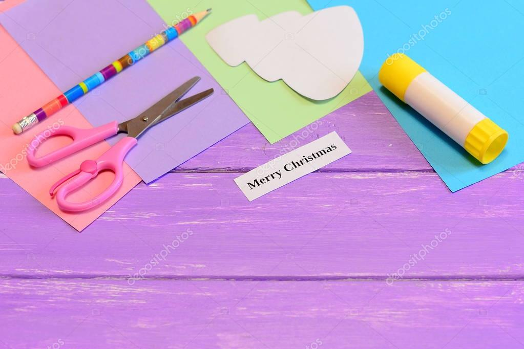 How to make paper greeting card merry christmas step colored paper how to make paper greeting card merry christmas step colored paper set scissors m4hsunfo