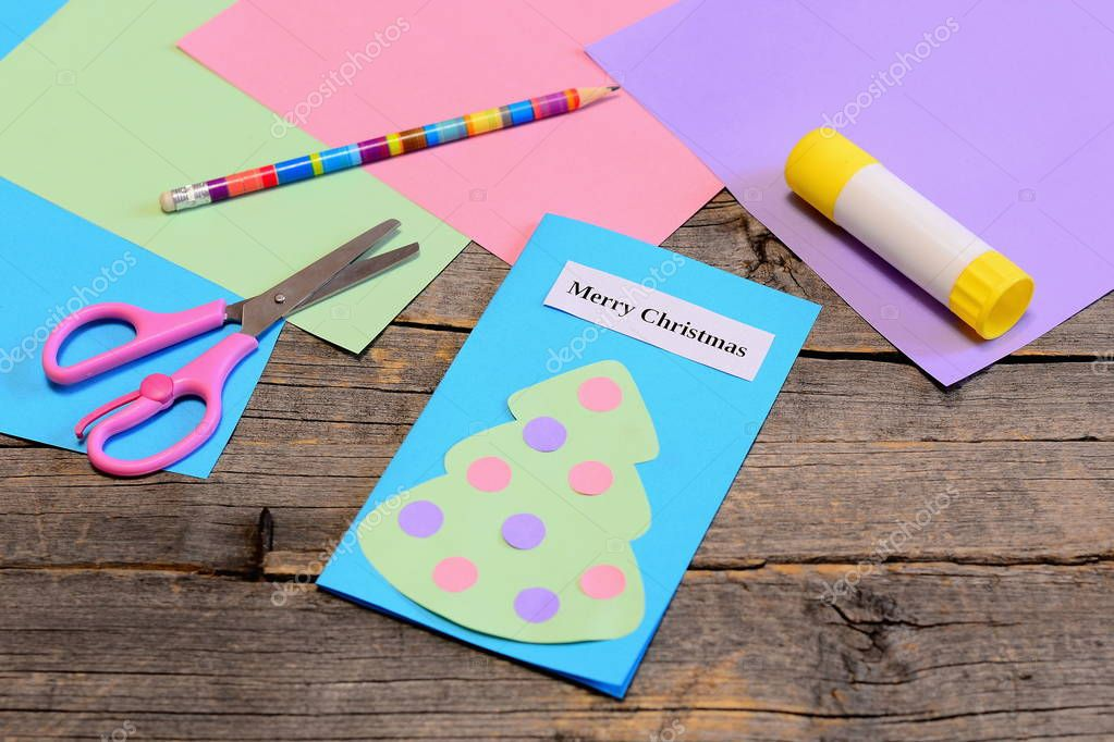 Christmas card tutorial  Paper greeting card with text Merry