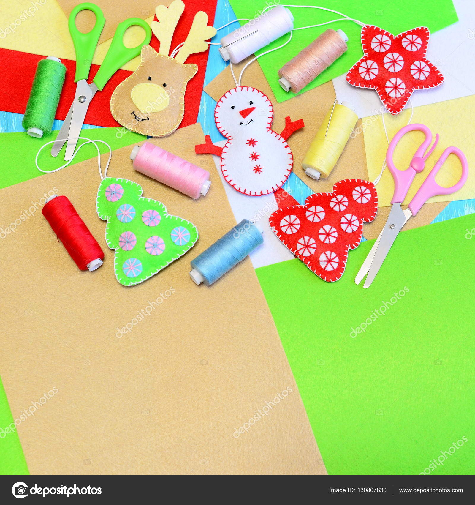 tree ornaments crafts. Felt Christmas tree, star, snowman, deer ...