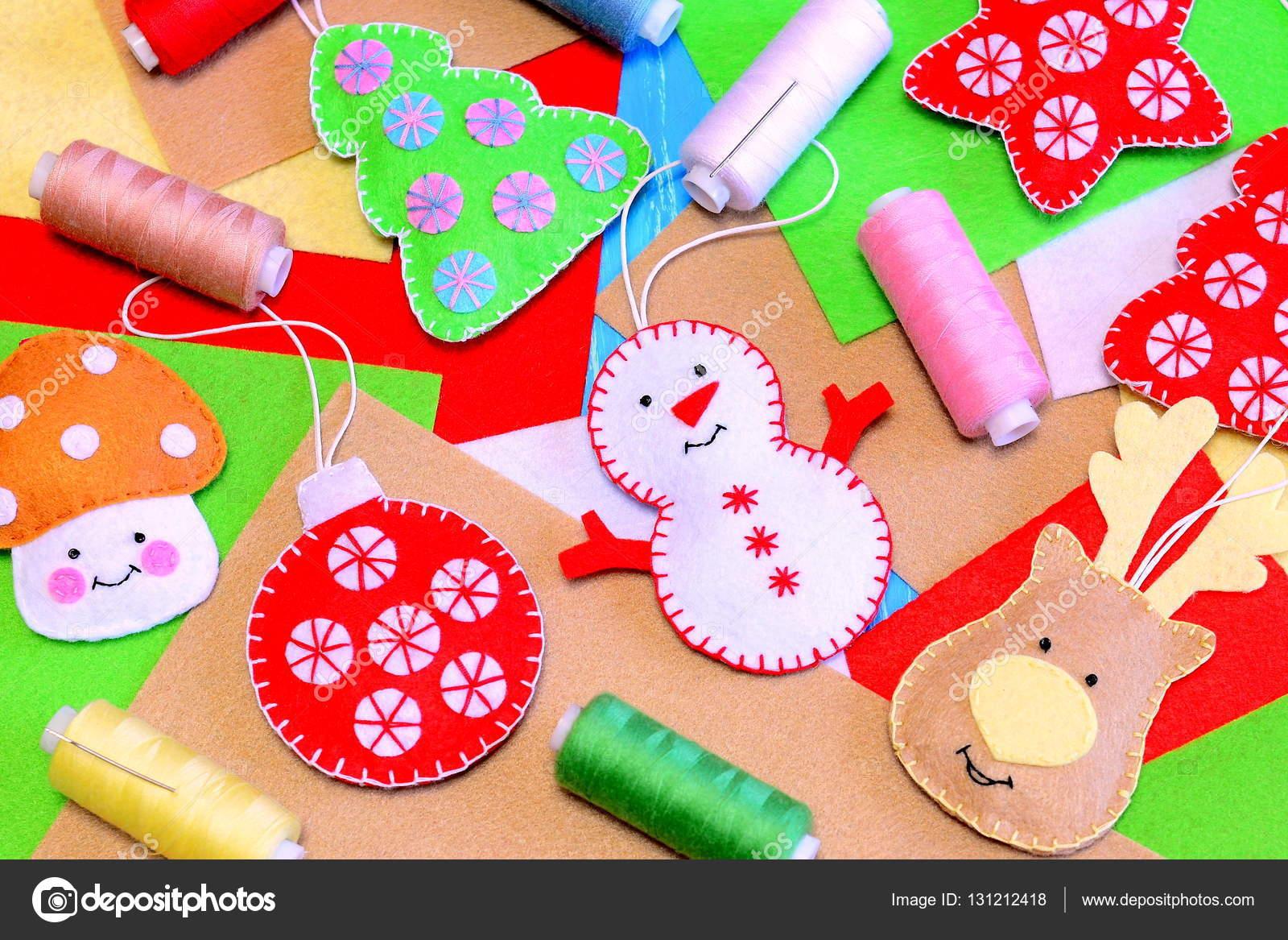 Children Christmas Tree Decorations.Felt Christmas Tree Ornaments Funny Felt Snowman Deer