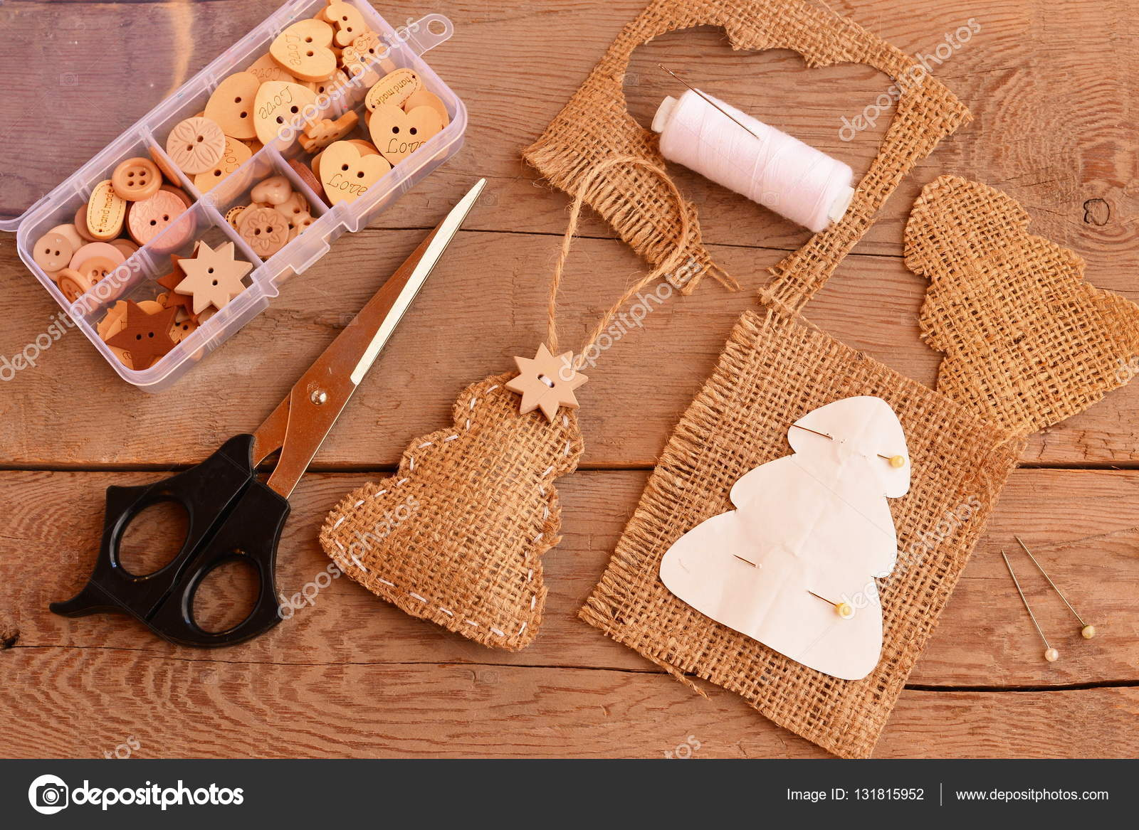 Burlap Christmas Tree Decorated Wooden Star Button Paper Tree Template Thread Pins Scissors Wooden Buttons In Box On Old Background Creating Christmas Tree Ornaments Diy Easy Christmas Ornaments Crafts Rustic Style