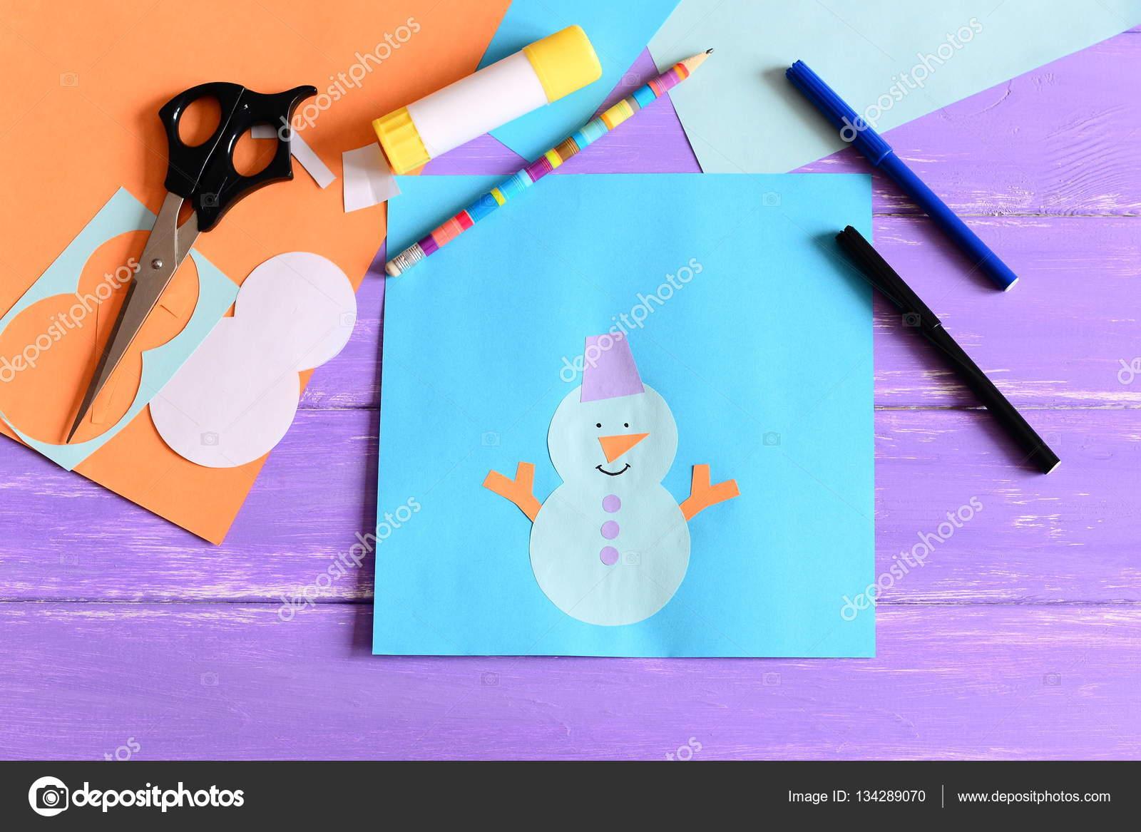 Hacer niños invierno tarjetas de papel. Paso. Aplique de muñeco de ...