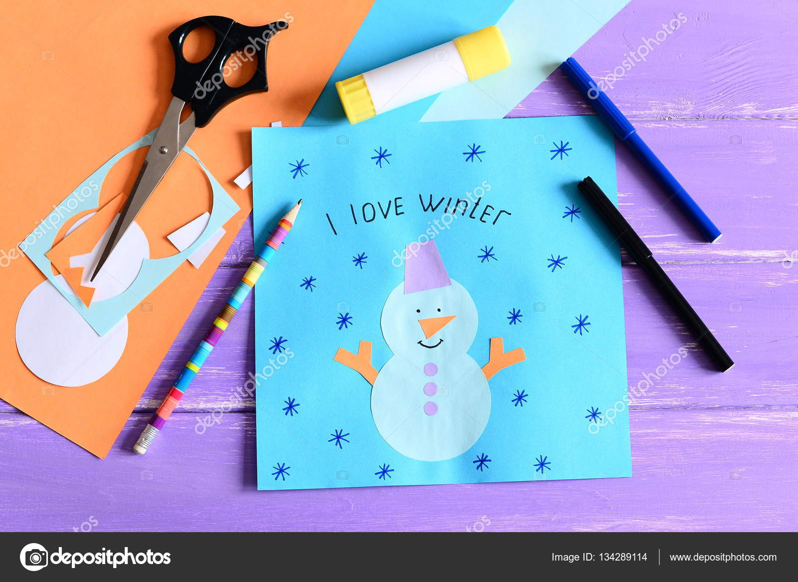 Making A Children Winter Paper Cards Step Paper Card With Snowman