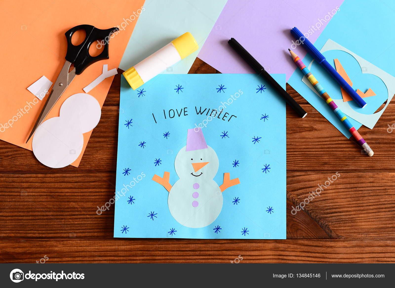 Schneemann Anwendung Papierkarte Auf Holztisch Werkzeuge Und
