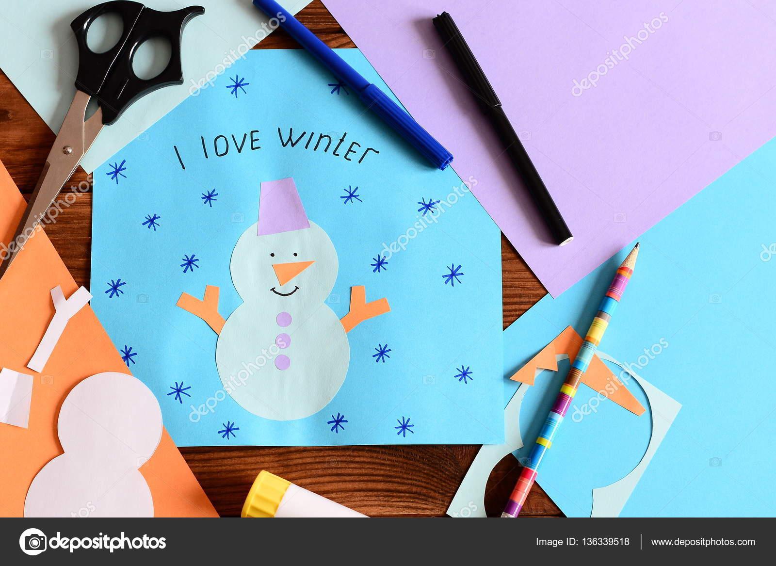 Fiocchi Di Neve Di Carta Per Bambini : Scheda di carta di pupazzo di neve con i fiocchi di neve e parole