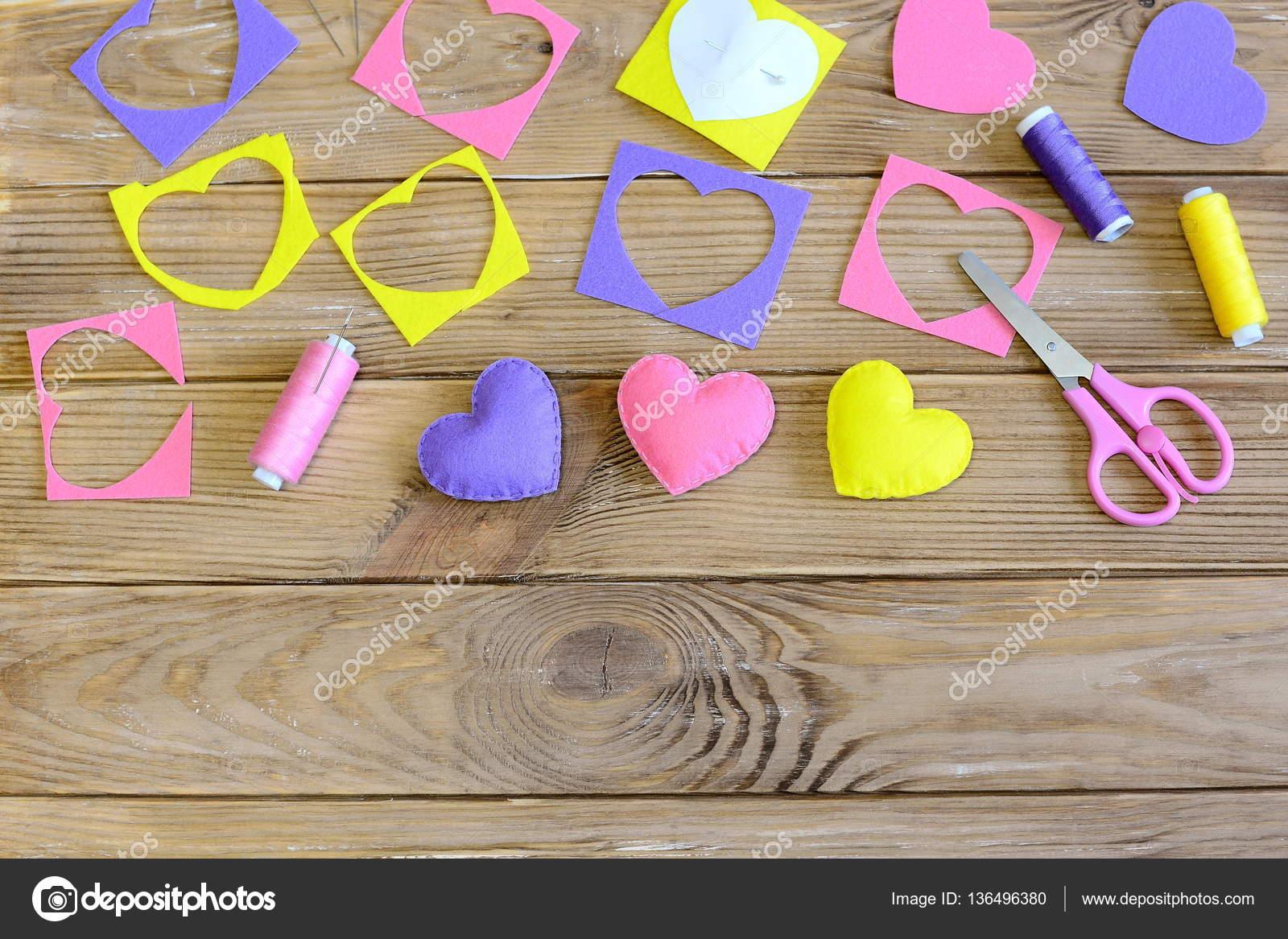 Decoracion De Corazones De San Valentin Colorido Fieltro Decoracion - Decoracion-san-valentin-manualidades