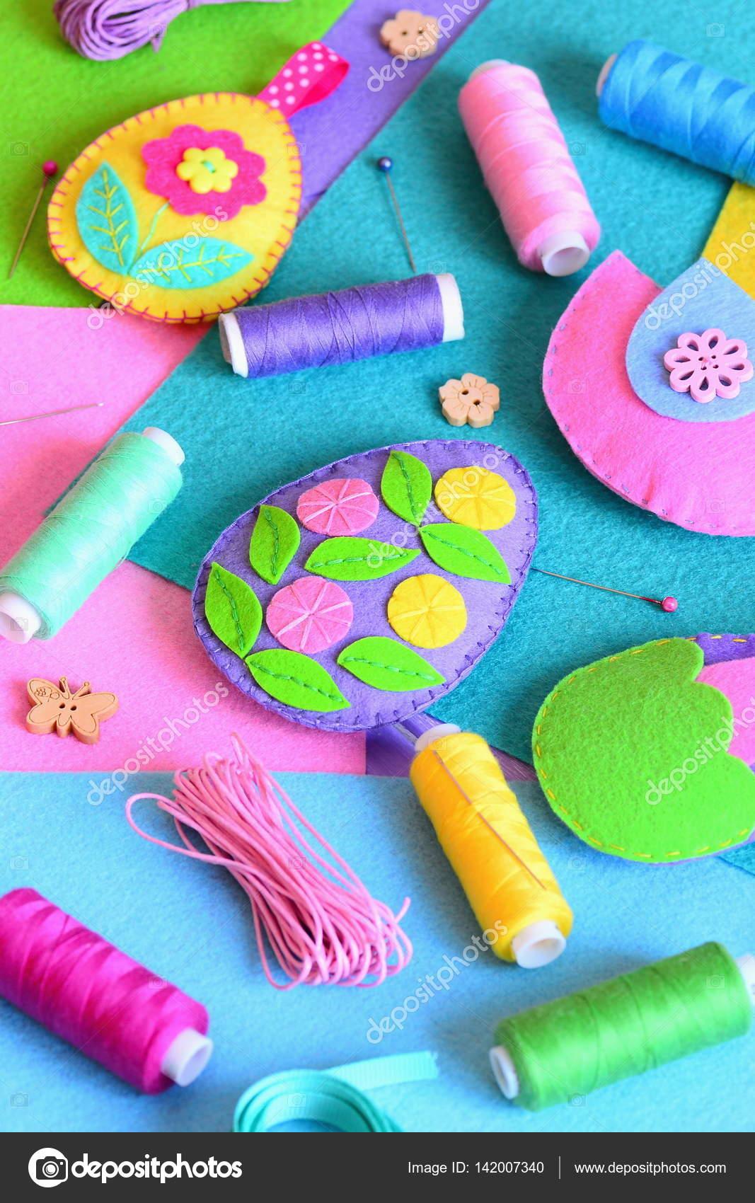 Felt Easter Eggs Ornaments Beautiful Easter Crafts Set Colored