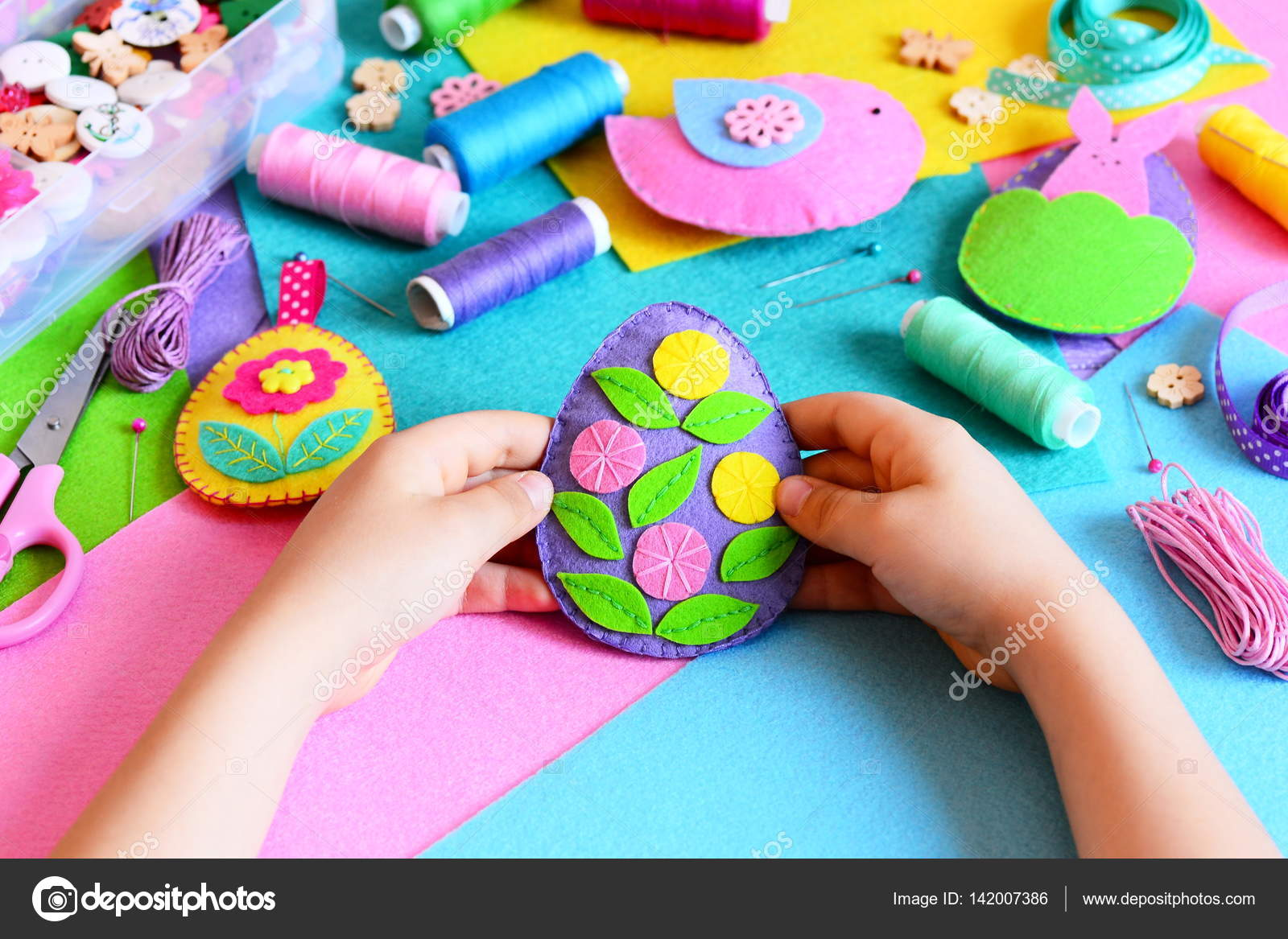 Kid Holds Easter Egg Decor In His Hands Small Kid Shows His Easter