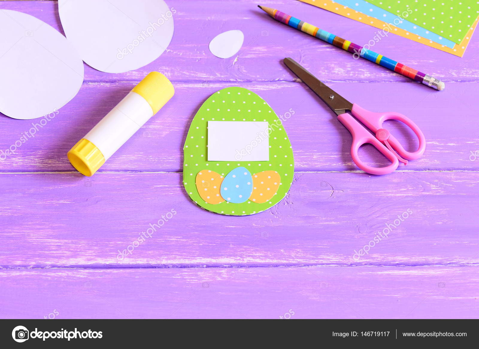 Easter greeting card with egg made of colored cardboard, colored ...