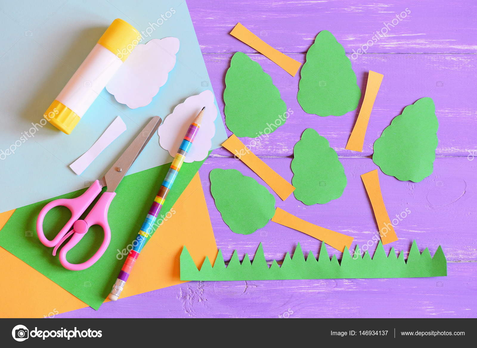 Making Earth Day Card Step Tutorial Trees And Grass Cut From