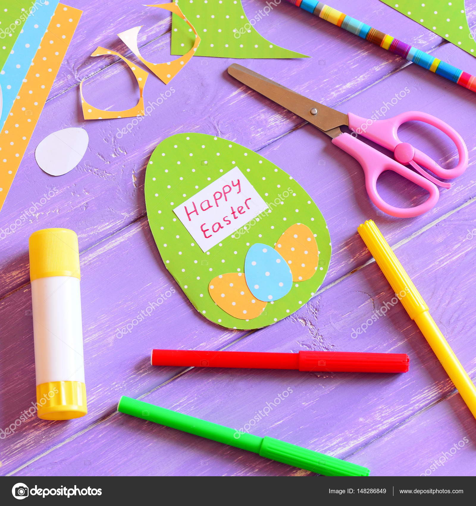 Happy easter card in egg shape materials and tools to create easter happy easter card in egg shape materials and tools to create easter paper greeting card m4hsunfo