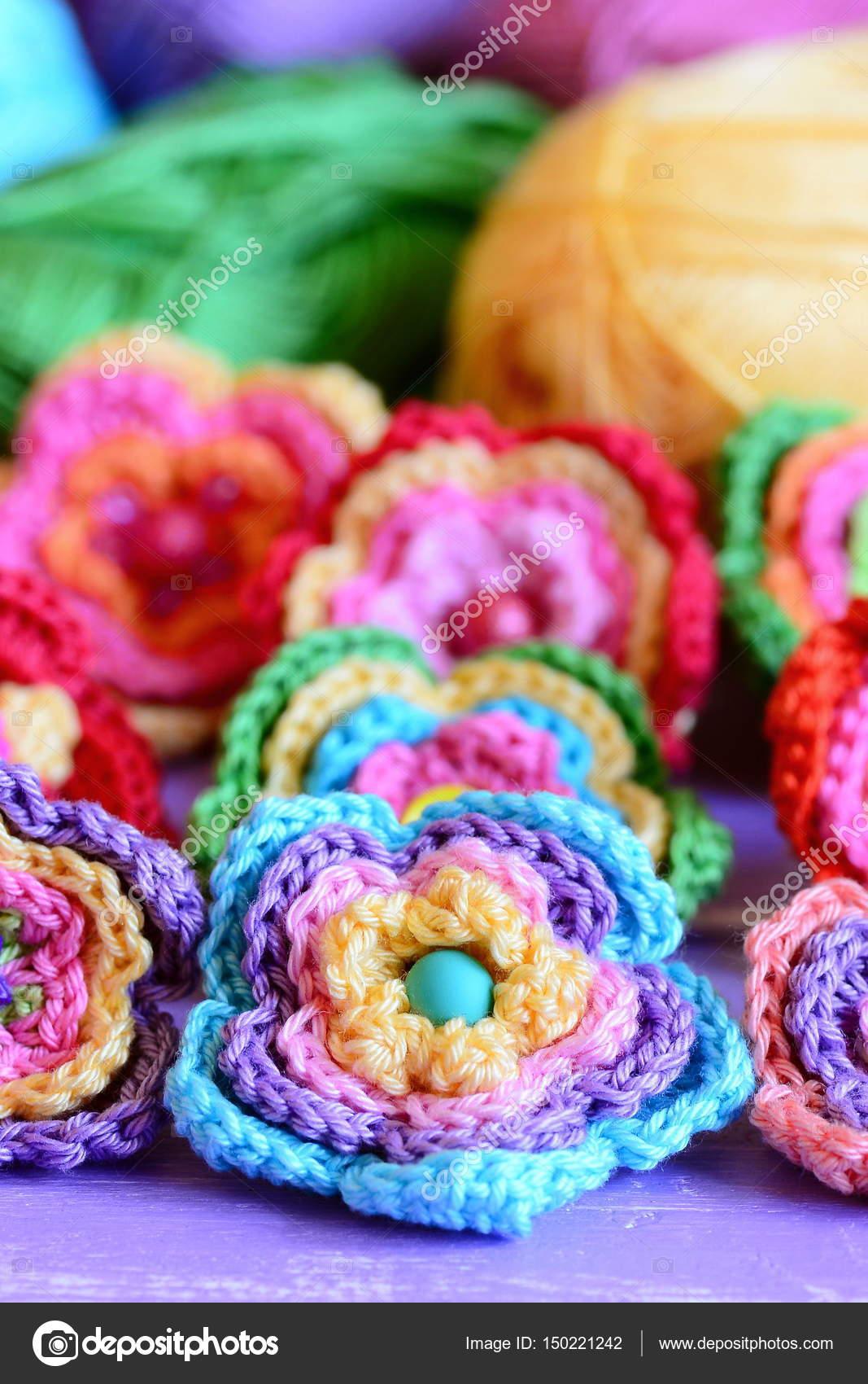 Conjunto de flores multicolor de ganchillo. Crochet patrones y ...