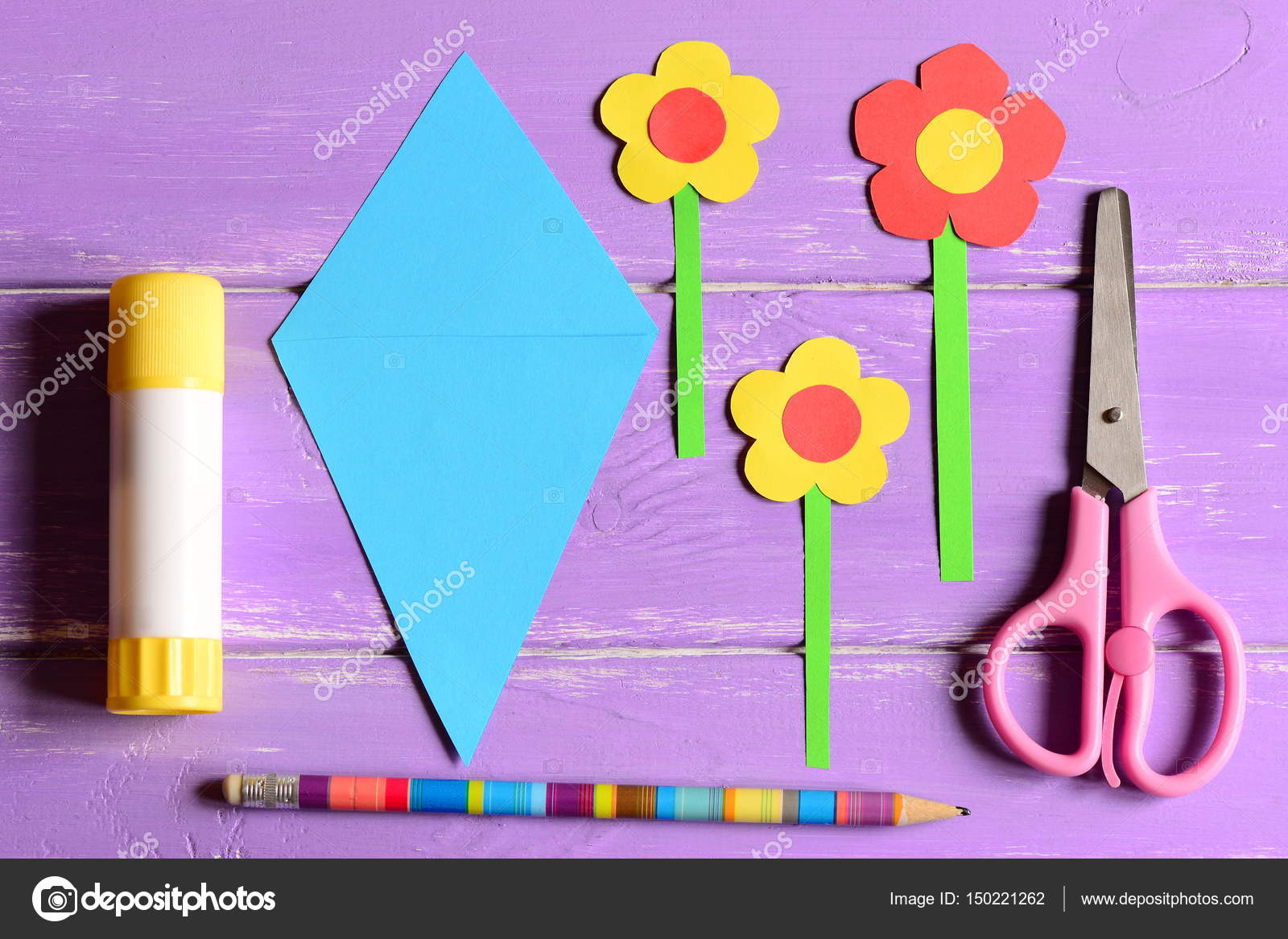 Making Paper Crafts For Mothers Day Or Birthday Step Flowers Scissors Glue Stick Templates Pencil On A Table Set Kids Art Activity