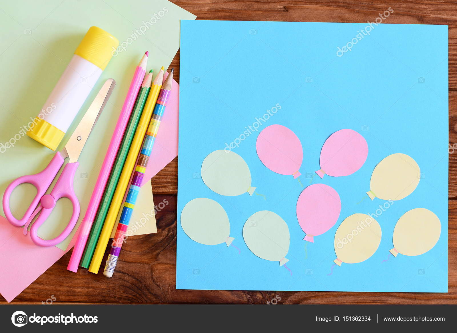 Creating A Paper Card With Balloons Step Tutorial For Children Air Day Or