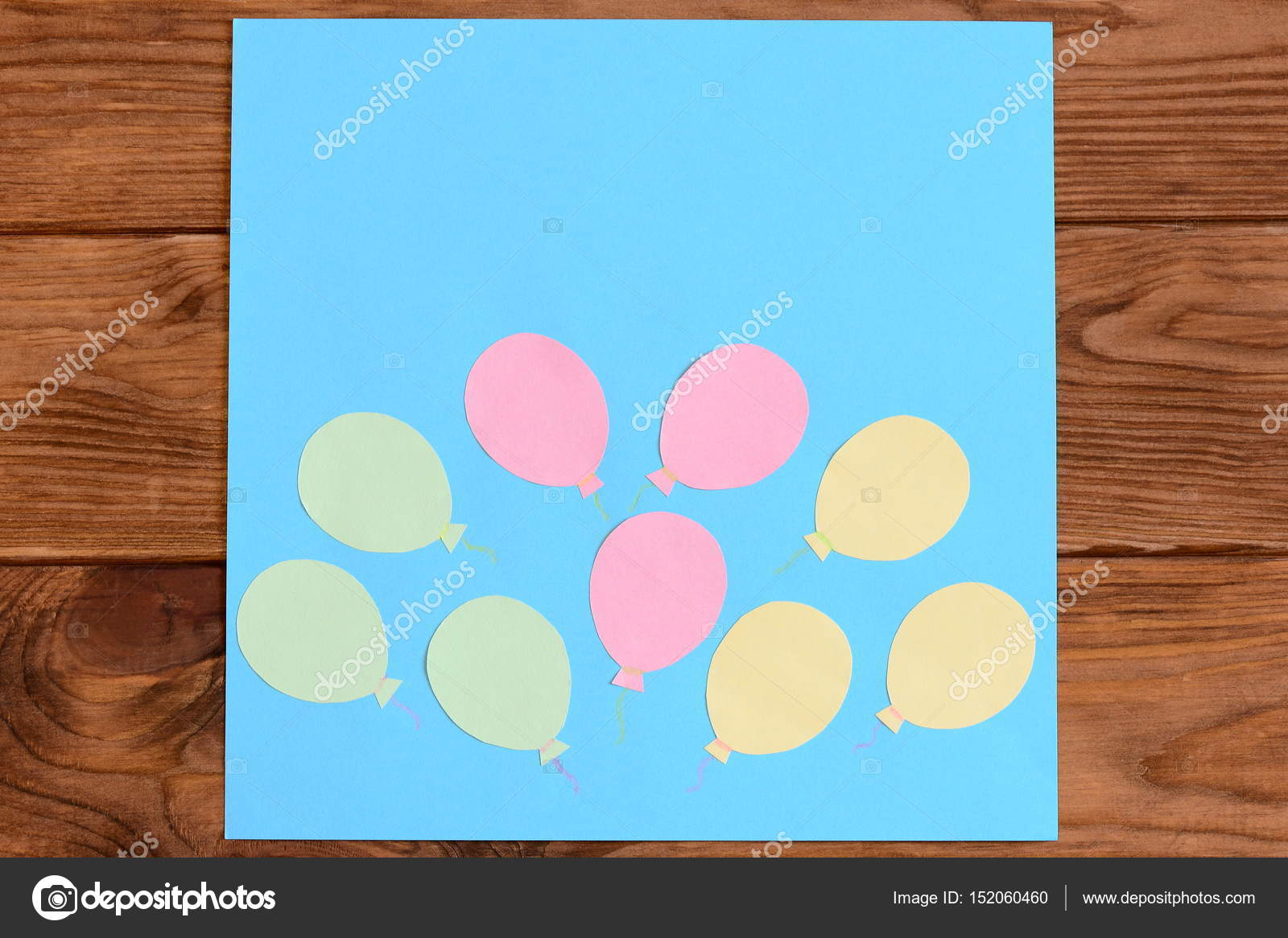 Making a card with paper air balloons. Step. Lesson for children ...