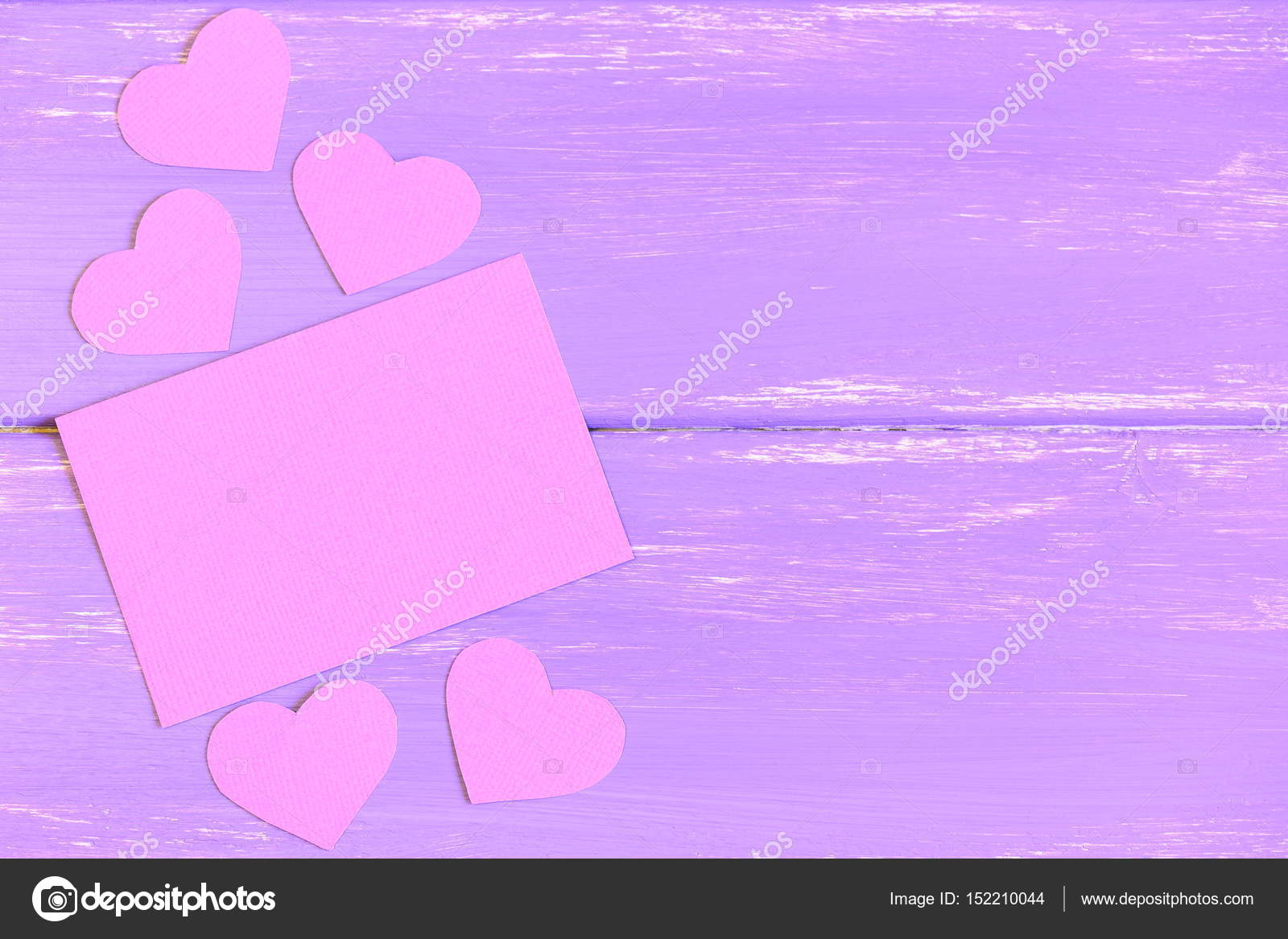 Pink blank paper card pink paper hearts on wooden background with pink blank paper card pink paper hearts on wooden background with copy empty space for bookmarktalkfo Choice Image