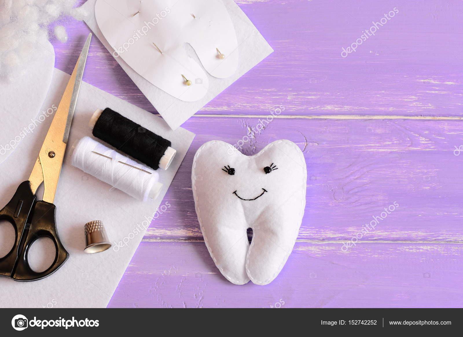 Filz Zahnfee Spielzeug, Papier-Vorlage, fühlte Stück in Zahnform ...